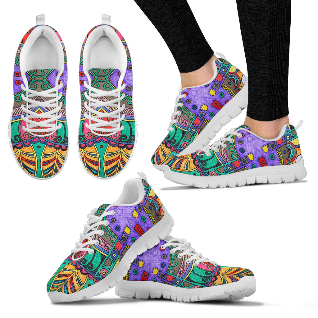 Colorful HandCrafted Artistic Mandala Sneakers.