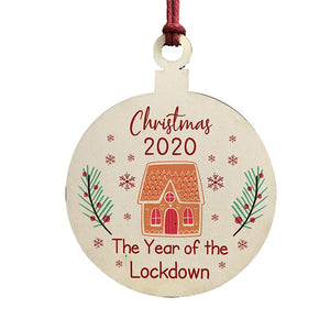 Lockdown Wood Christmas Tree Ornaments Wooden Board Hanging Round Shape Decoration Gift