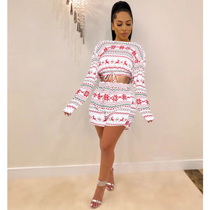 Women Christmas Pajama Sets Long Sleeve Crop Top Shorts 2Pcs