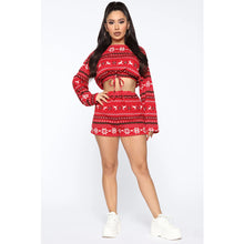 Load image into Gallery viewer, Women Christmas Pajama Sets Long Sleeve Crop Top Shorts 2Pcs