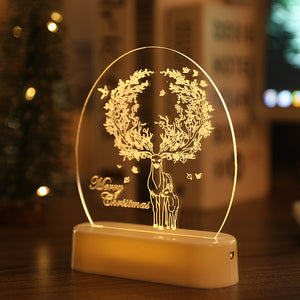 LED Fairy String Lights Battery USB 3D Santa Claus Tree Acrylic Night Light Wedding Christmas Decoration for Home Room Garland
