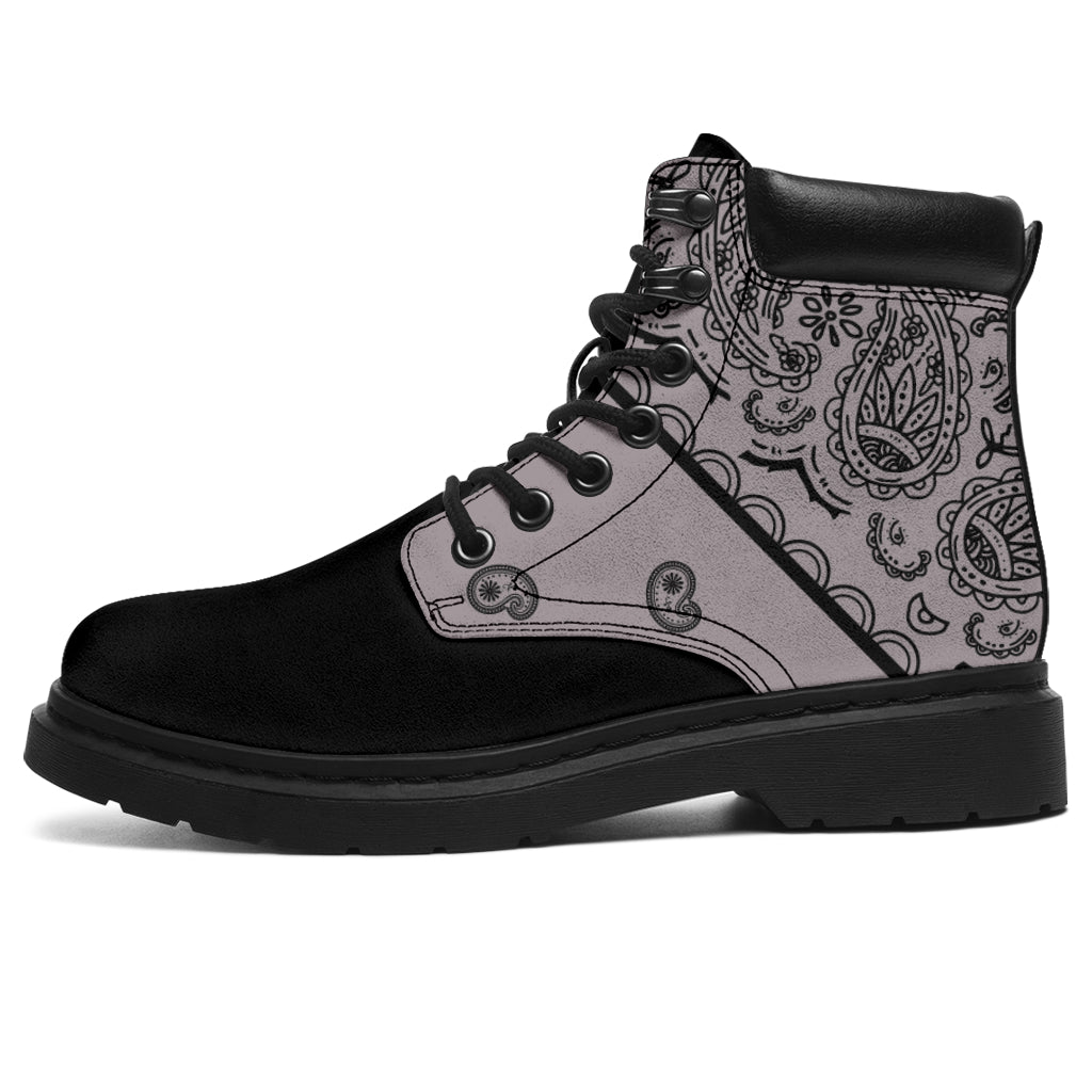 Classic Gray Bandana Black Out All Season Boots
