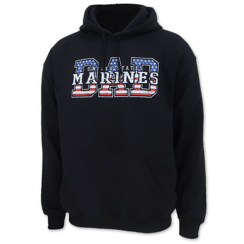 Marines Dad American Flag Hood (Black)