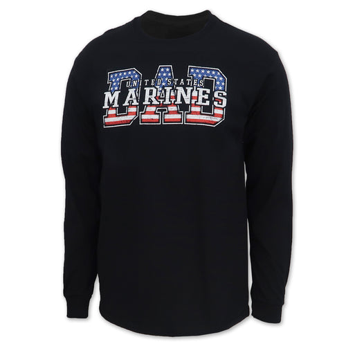 Marines Dad American Flag Long Sleeve T-Shirt (Black)