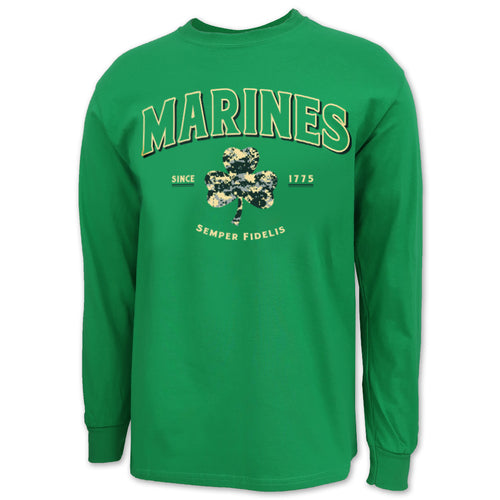 Marines Digi Camo Shamrock Long Sleeve T-Shirt (Green)