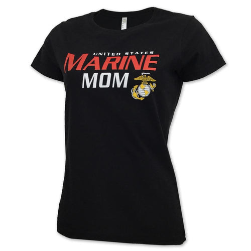LADIES UNITED STATES MARINE MOM T-SHIRT (BLACK) 2