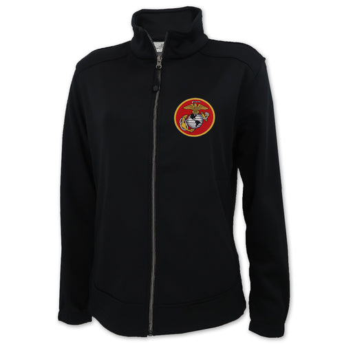 MARINES EGA LADIES FULL ZIP SOFT SHELL FLEECE JACKET (BLACK)