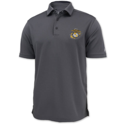 MARINES EGA UNDER ARMOUR TECH POLO (GRAPHITE) 1