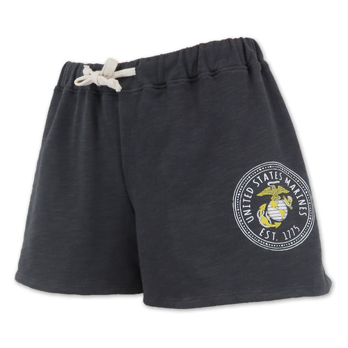 MARINES LADIES WEATHERED TERRY SHORT (WASHED GREY) 3