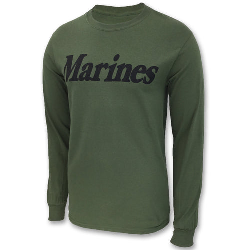 MARINES LOGO CORE LONG SLEEVE T-SHIRT (OD GREEN) 2