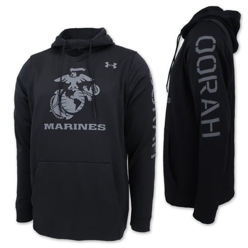 MARINES UNDER ARMOUR OORAH ARMOUR FLEECE HOOD (BLACK) 2