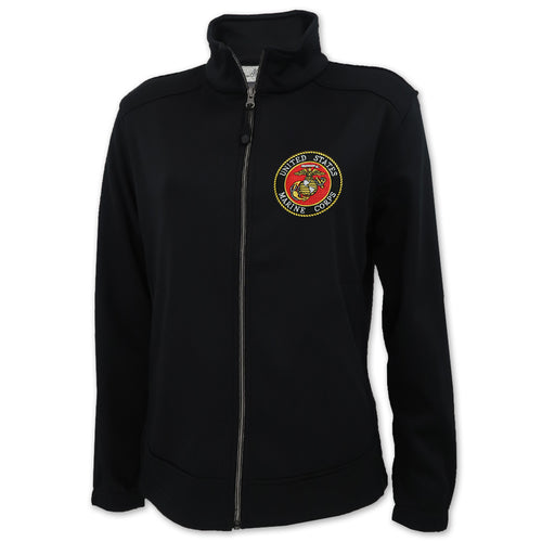 UNITED STATES MARINE CORPS SEAL LADIES FULL ZIP SOFT SHELL FLEECE JACKET (BLACK)