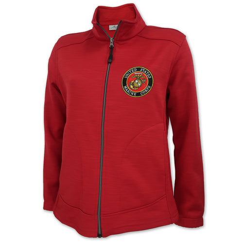 UNITED STATES MARINE CORPS SEAL LADIES FULL ZIP TIGER STRIPE FLEECE JACKET (RED) 1