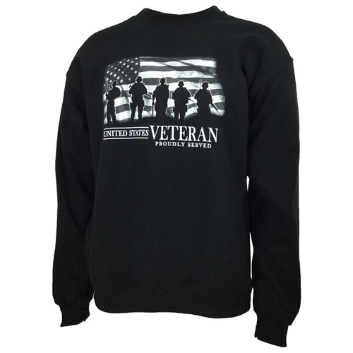 UNITED STATES VETERAN PROUDLY SERVED CREWNECK (BLACK) 1