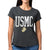 USMC LADIES DISTRESSED VINTAGE CUFF T-SHIRT (BLACK) 2