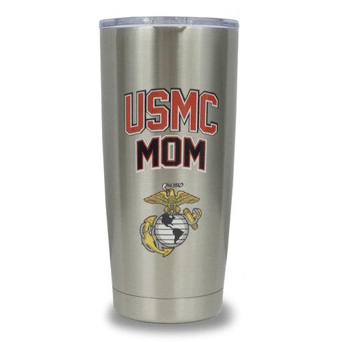 USMC MOM STAINLESS STEEL TUMBLER (SILVER)