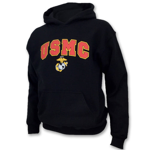 USMC YOUTH ARCH EGA HOOD (BLACK) 1