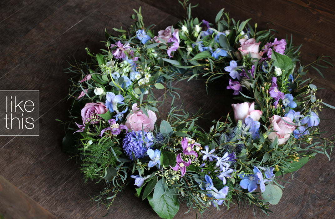 Caring Natural Sympathy Wreath (colour option available)