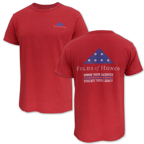 Folds Of Honor Flag Tri-Blend T-Shirt (Heather Red)