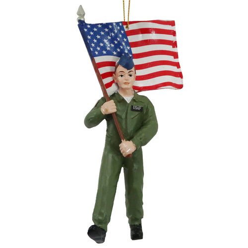 USAF Airman With Flag Ornament