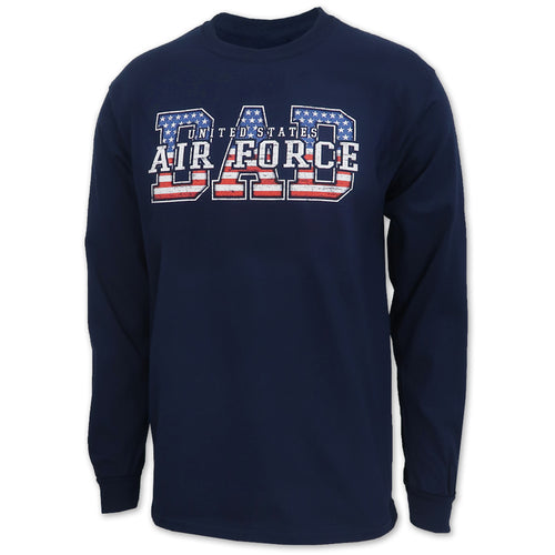 AIR FORCE DAD AMERICAN FLAG LONG SLEEVE T-SHIRT (NAVY)