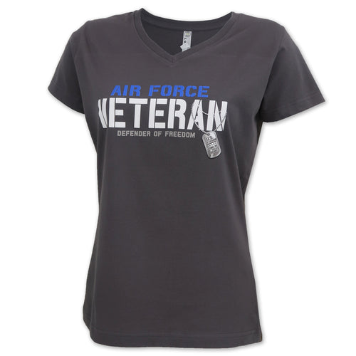 Air Force Ladies Veteran Defender T-Shirt (Charcoal)