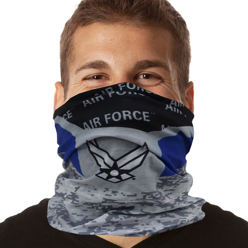 Air Force Wings Diagonal Stripe Seamless Tube Face Mask-Single or 3 Pack