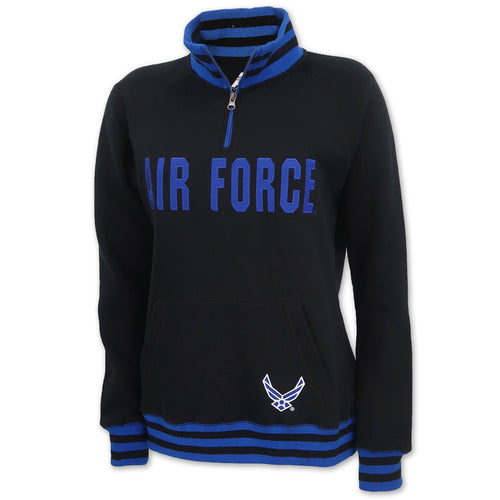 Air Force Ladies Tackle Twill Fleece Stripe 1/4 Zip (Black)