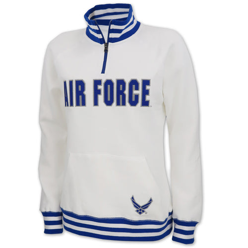 Air Force Ladies Tackle Twill Fleece Stripe 1/4 Zip (White)