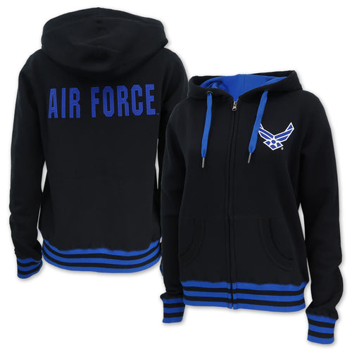 Air Force Wings Ladies Embroidered Fleece Stripe Full Zip (Black)