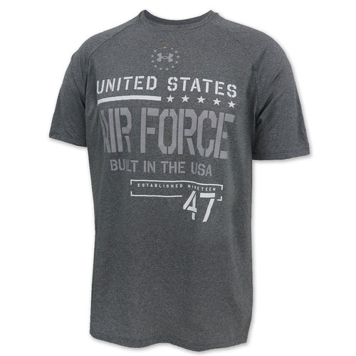 Air Force Under Armour Built In the USA Hi-Tech Novelty T-Shirt (Pitch Grey)