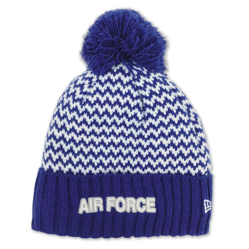 AIR FORCE LADIES PATTERNED POM KNIT (ROYAL/WHITE) 1