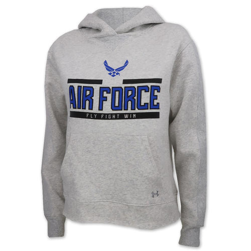 AIR FORCE LADIES UNDER ARMOUR WINGS LOGO ALL DAY FLEECE HOOD (GREY) 1