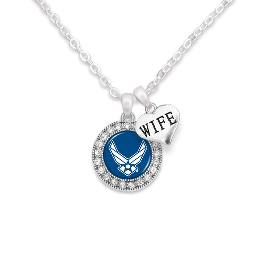 AIR FORCE WINGS CRYSTAL WIFE NECKLACE