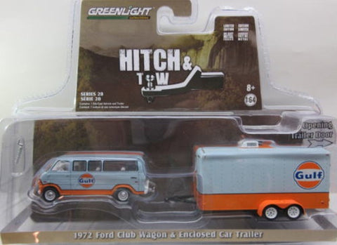 GL 1:64 Gulf Oil 1970 Ford Club Wagon with Enclosed Hauler