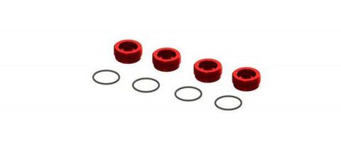 Arrma Alu Front Hub Nut Red (4) W/Orings