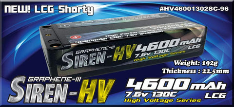 Team Silverback 4600mah 130C/260C 7.6v 2S LCG Shorty Lipo Battery