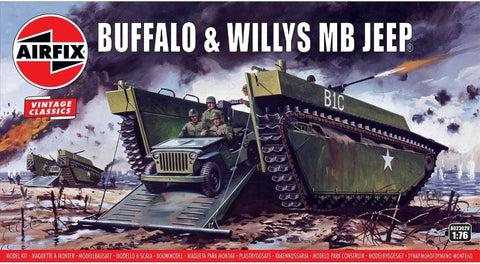 Airfix 1:76 Buffalo Tank & Willys MB Jeep