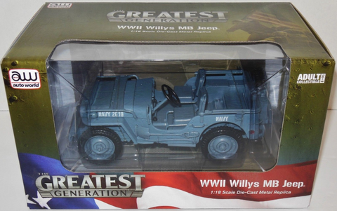 AW 1:18 WWII Willys MB Jeep Blue-Grey