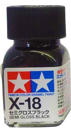 Tamiya X-18 Enamel 10ml Semi-Gloss Black
