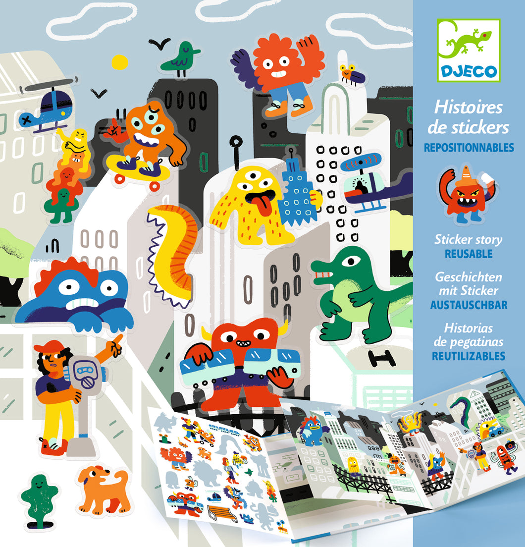 Djeco STICKER STORY - MONSTER INVASION - 4-8 YRS