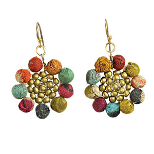 World Finds SUNFLOWER BEAD EARRING