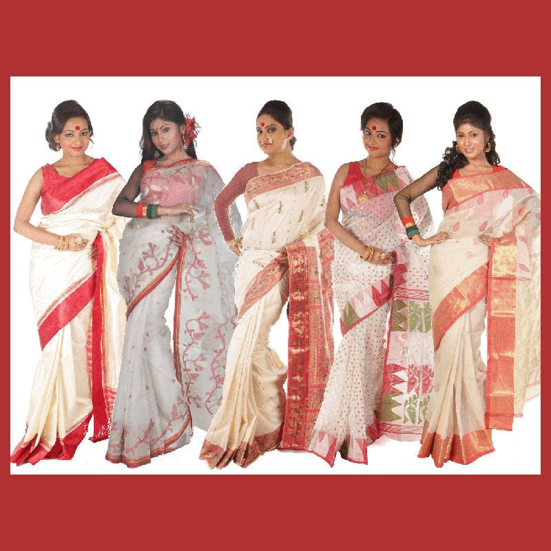 Red-white Bengali sarees