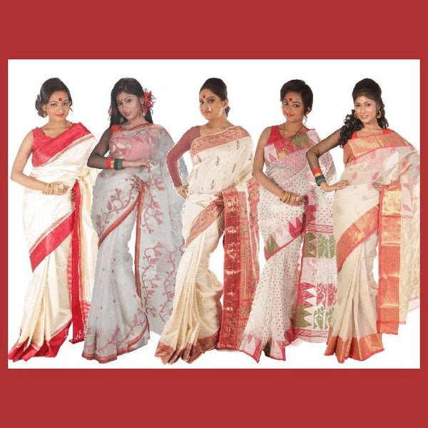 The famous red & white Bengali sarees