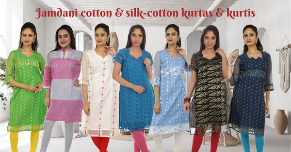Dhakai jamdani kurtas and kurtis collections at Parinita