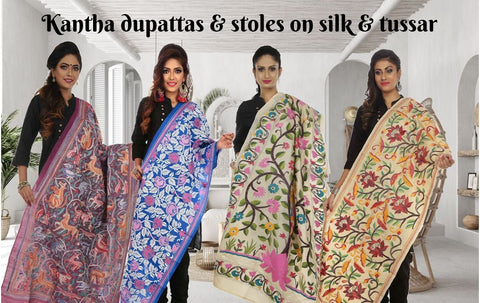Kantha dupattas on silk and tussar