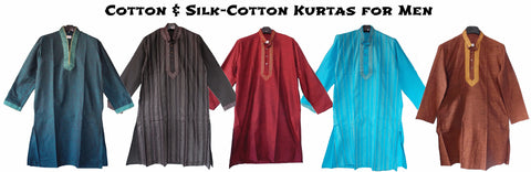 Cotton and silk-cotton men's kurtas from Bengal