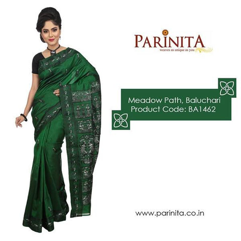 Green Baluchari Silk