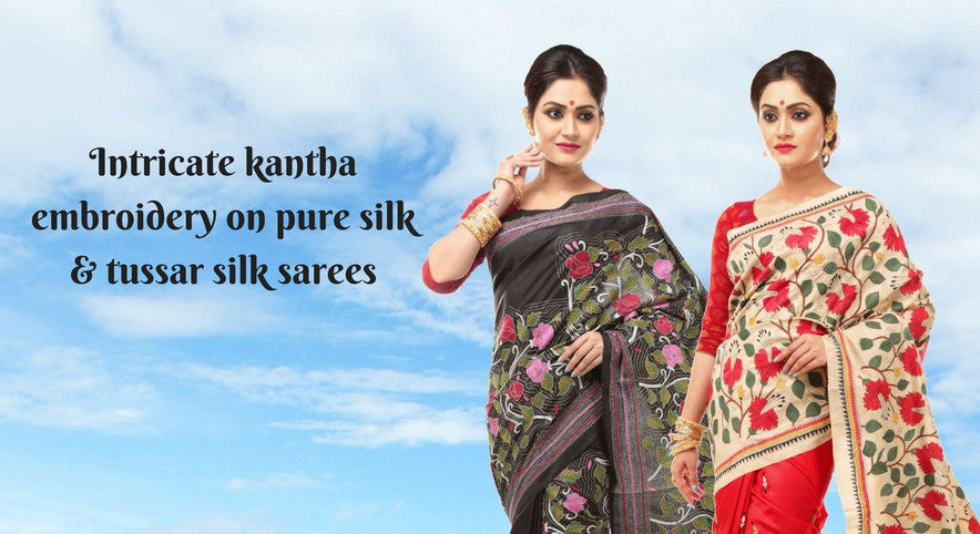 Kantha on silk sarees