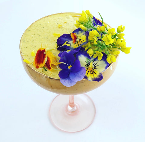 Lemon myrtle, turmeric and gin ice cream in cocktail glass